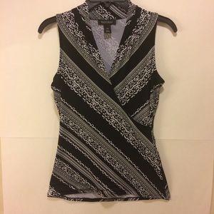 WHBM Black and White Wrap Sleeveless Top Size XS